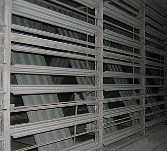 Damper (flow) - Opposed blade dampers in a mixing duct.