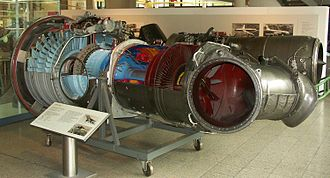Hawker Siddeley Harrier - Rolls-Royce Pegasus engine on display, sections have been cut out to provide an internal view