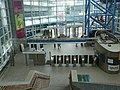 Airport station faregates and lobby from footbridge, August 2008.jpg