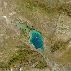 Lake Sasykkol - Lakes Sasykkol (left) and Alakol in 2003
