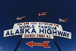 Entrance to the Alaskan Highway signage