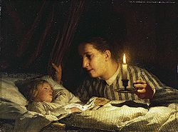 Albert Anker - Junge Mutter, bei Kerzenlicht ihr schlafendes Kind betrachtend.jpg