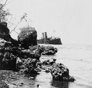 Spanish cruiser Almirante Oquendo - The wreck of Almirante Oquendo, circa 1899.