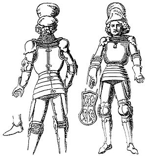 White armour - An early type of alwyte armour; note that it opens from the back like a brigandine, so it could be considered as a late type of transitional armour