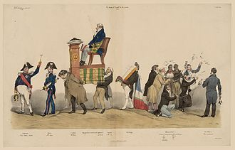 "Amédée Girod de l'Ain - ""Te Deum at the altar of peace"" by Grandville. Girod de l'Ain, President of the Chamber (seated), in a procession of notables. La Caricature, November 1831"