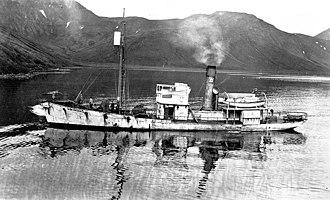Akutan, Alaska - Whaler Unimak in Akutan Harbor, 1914. An American Pacific Sea Products Co. vessel