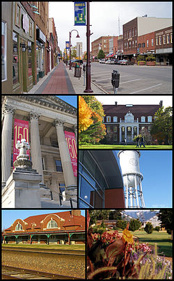 从上开始顺时针分别是:Main Street in downtown Ames、Beardshear Hall、爱荷华州立大学 Alumni Hall、Marston Water Tower and Hoover Hall at ISU、a train station in Ames和Reiman Gardens.