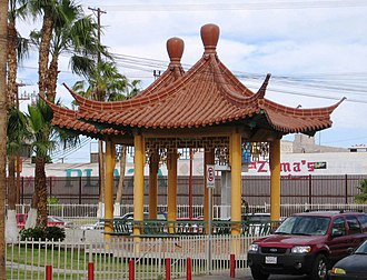 La Chinesca - Plaza de la Amistad (Friendship Plaza) pagodas, located just outside the border crossing to the USA