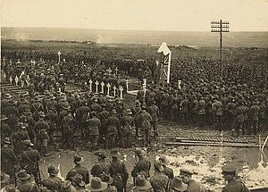1st Battalion (Australia) - An Australian Chaplain delivering the sermon at the unveiling of memorial to the 1st Australian Battalion, Pozieres