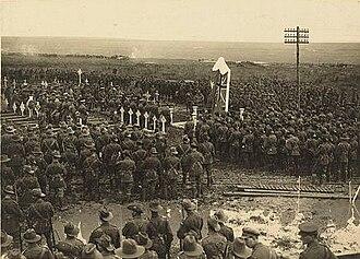 1st Battalion (Australia) - An Australian Chaplain delivering the sermon at the unveiling of memorial to the 1st Australian Battalion, Pozieres