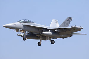An EA-18G Growler of the Electronic Attack Squadron 141 (United States Navy) in Lisbon (5815010398).jpg