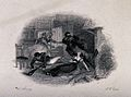 An accident in front of the fireplace; a young lady and two Wellcome V0041886.jpg