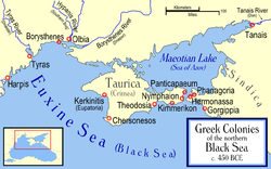 Theodosia and other Greek colonies along the north coast of the Black Sea in the 5th century BCE.