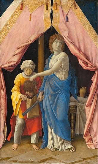 Andrea Mantegna -  Judith and Holofernes, by Andrea Mantegna or possibly Giulio Campagnola
