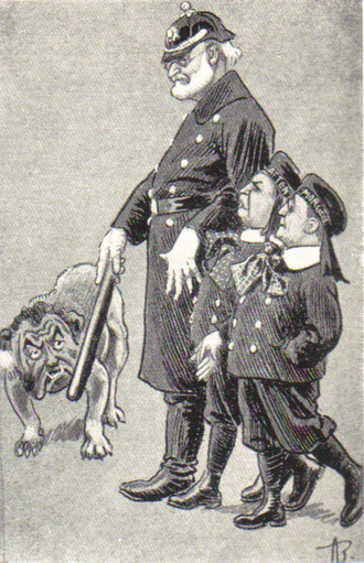 Ola Thommessen - A caricature from 1905 (Andreas Bloch, Korsaren). Thommessen is depicted as an angry dog, and the conservative editors Amandus Schibsted (Aftenposten) and Nils Vogt (Morgenbladet) are shielded by politician Carl Berner.