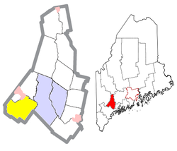 Location of Poland (in yellow) in Androscoggin County and the state of Maine
