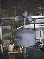 Cup-type anemometer with vertical axis and turnabout counter located at the Dübendorf museum of military aviation