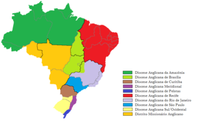 Anglican Episcopal Church of Brazil - Anglican dioceses of Brazil and the missionary district (in dark yellow).