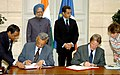 Anil Kakodkar and the Foreign Minister of France, Mr. Bernard Kouchner signing agreement on civil nuclear cooperation, in the presence of the Prime Minister, Dr. Manmohan Singh and the President of France.jpg