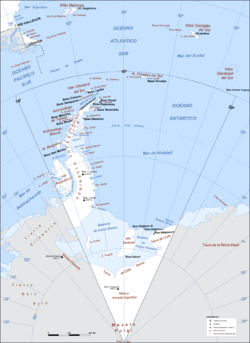 Argentine Antarctica map since 1950. Orcadas base from 1904.