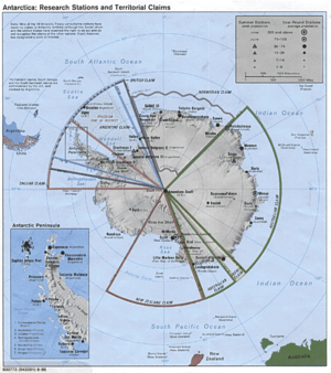 Beagle conflict - The map shows the overlapping projection of the countries over the Antarctic