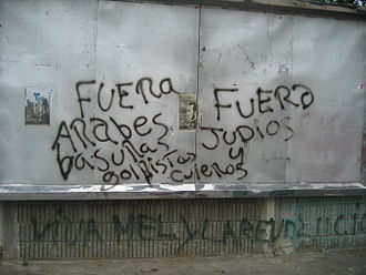 Anti-Arabism - Graffiti in San Pedro Sula, Honduras, calling for an expulsion of Arabs and Jews