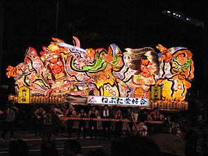 Aomori Nebuta Matsuri - An illuminated nebuta float in 2006