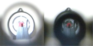 Iron sights - Pictures taken under identical conditions through large (left) and small (right) diameter aperture sights, with camera focused on front sight