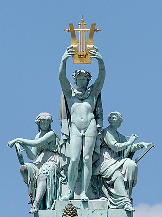 Aimé Millet - Apollo, Poetry, and Music, group atop the Paris Opéra