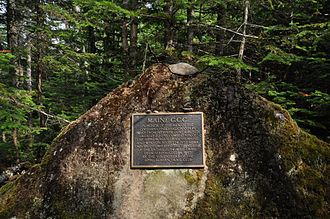 Appalachian Trail - Marker on the trail near Sugarloaf Mountain in Maine commemorating its completion.