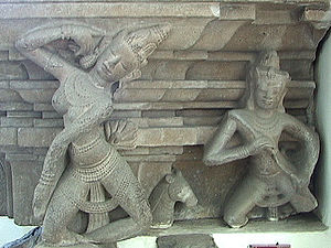 "Kabandha - Kabandha was born as a Gandharva – a celestial musician (right) here pictured with an Apsara, celestial dancer. (10th-century Cham ""Dancers' Pedestal"" of the Tra Kieu style.)"