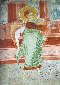 Archangel Michael Church in Benche, Archangel Gabriel Fresco.jpg