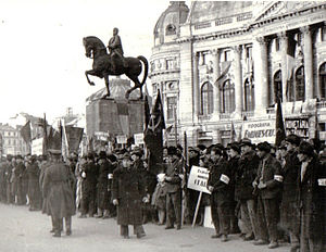 Northern Transylvania - Demonstration in Bucharest's Palace Square celebrating Northern Transylvania's return, March 1945