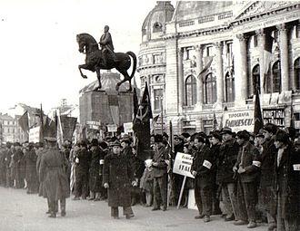 Northern Transylvania - Demonstration in Bucharest's Palace Square celebrating Northern Transylvania's return, March 1945