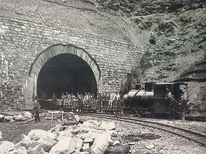 Arlberg Railway Tunnel - A construction train at the Langen entrance.