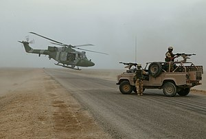 Army Air Corps (United Kingdom) - A Westland Lynx AH.7 of the Army Air Corps ready to touch down on a desert road south of Basra Airport, Iraq, November 2003
