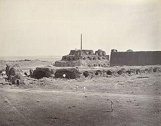 Feroz Shah Kotla - Ashoka Pillar at Feroze Shah Kotla, Delhi, 1861
