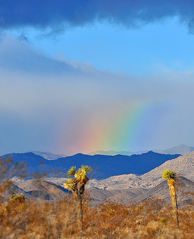 image of a rainbow with mountain view