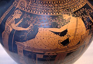 Red-figure pottery - Red-figure scene on the Belly Amphora by the Andokides Painter (Munich 2301). Munich: Staatliche Antikensammlungen