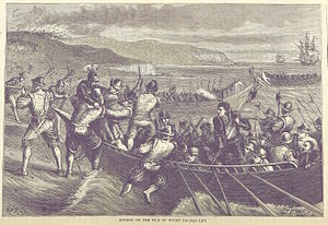 French invasion of the Isle of Wight - An 1873 illustration of the French landing