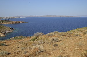 Makronisos - View of the island from Cape Sounion, Attica