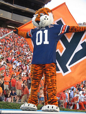 Aubie - Aubie with the Auburn University flag