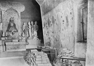 Aurel Stein's 1907 view of Mogao Cave 16, with a portion