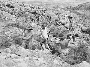 2/31st Battalion (Australia) - Soldiers from the 2/31st dig a section defence post in Syria during October 1941