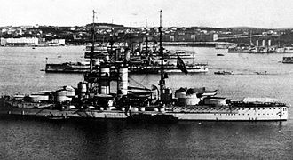 Adriatic Campaign of World War I - Austro-Hungarian dreadnoughts at Pola.