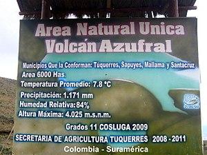 Azufral - Image: Azufral volcán datos