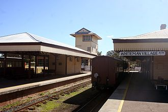 Bennett Brook Railway - Whiteman Village Junction Station, with the Former Subiaco Signal Cabin in the background