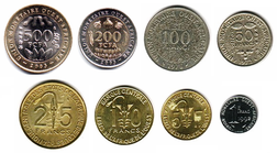 Current coins of the West African CFA franc