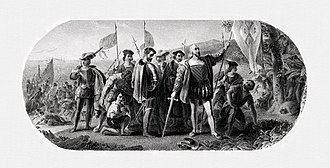 Steel engraving - Image: BEP (Multiple) Landing of Columbus (Vanderlyn)