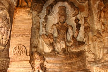 Vishnu seated on Adishesha